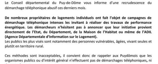 Attention : Recrudescence du démarchage téléphonique abusif dans le département du Puy-de-Dôme